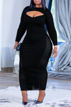 Black Sexy Casual Solid Hollowed Out O Neck Long Sleeve Plus Size Dresses