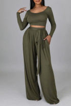 Green Casual Elegant Solid Bandage Split Joint U Neck Long Sleeve Two Pieces