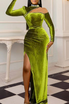 Light Green Sexy Solid Hollowed Out Split Joint Slit Beading Turtleneck Long Sleeve Dresses