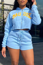 Sky Blue Fashion Casual Letter Print Zipper Hooded Collar Long Sleeve Two Pieces