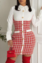Red Casual Plaid Split Joint Buckle Turndown Collar Dresses