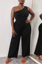 Black Fashion Casual Solid Beading One Shoulder Plus Size Jumpsuits