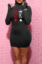 Black Casual Print Split Joint Turtleneck Pencil Skirt Dresses