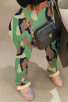 Camouflage Fashion Casual Camouflage Print Fold Skinny High Waist Trousers
