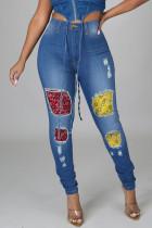 Blue Casual Street Print Ripped Make Old Split Joint High Waist Regular Denim Jeans