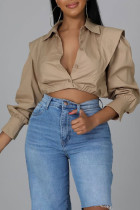 Apricot Casual Solid Split Joint Buckle Turndown Collar Tops