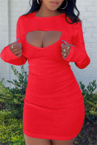 Red Sexy Casual Solid Hollowed Out O Neck Long Sleeve Dresses