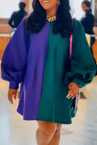 Multicolor Fashion Casual Solid Split Joint O Neck Long Sleeve Plus Size Dresses