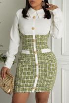 Green Yellow Casual Plaid Split Joint Buckle Turndown Collar Dresses