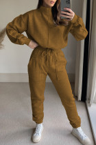Brown Fashion Casual Solid Split Joint Turtleneck Long Sleeve Two Pieces
