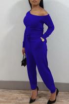 Royal Blue Casual Solid Split Joint Oblique Collar Regular Jumpsuits