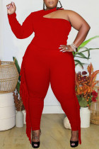 Red Sexy Solid Tassel Hollowed Out Split Joint Without Belt Halter Plus Size Two Pieces