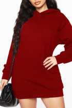 Burgundy Casual Solid Split Joint Hooded Collar Long Sleeve Dresses