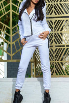 White Casual Sportswear Solid Split Joint Zipper Hooded Collar Long Sleeve Two Pieces