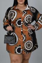Brown Fashion Casual Plus Size Print Basic Turndown Collar Shirt Dress