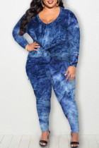 Blue Casual Print Tie Dye Split Joint O Neck Plus Size Two Pieces