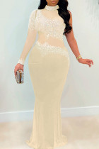 Apricot Sexy Plus Size Hot Drilling Split Joint See-through Turtleneck Evening Dress