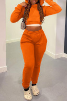 Tangerine Casual Solid Bandage Split Joint Hooded Collar Long Sleeve Two Pieces