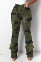 Army Green Casual Solid Split Joint Fold High Waist Regular Denim Jeans