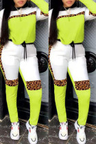 Fluorescent Green Fashion Casual Leopard Split Joint O Neck Long Sleeve Two Pieces