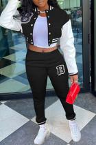Black Casual Sportswear Print Split Joint Buckle Mandarin Collar Long Sleeve Two Pieces