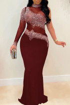 Burgundy Sexy Plus Size Hot Drilling Split Joint See-through Turtleneck Evening Dress