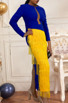 Blue Elegant Solid Tassel Split Joint See-through Fold O Neck Irregular Dress Dresses