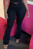 Black Casual Solid Split Joint Fold High Waist Regular Denim Jeans