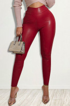 Red Fashion Casual Solid Skinny High Waist Trousers