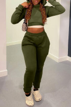 Army Green Casual Solid Bandage Split Joint Hooded Collar Long Sleeve Two Pieces