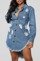 Sky Blue Fashion Casual Solid Ripped Turndown Collar Long Sleeve Regular Denim Dresses