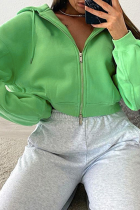 Green Sportswear Solid Draw String Hooded Collar Tops