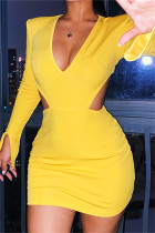 Yellow Sexy Casual Solid Hollowed Out V Neck Long Sleeve Dresses