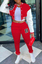 Red Casual Sportswear Print Split Joint Buckle Mandarin Collar Long Sleeve Two Pieces