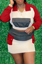 Red Fashion Casual Patchwork Basic Turndown Collar Long Sleeve Two Pieces