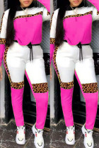 Rose Red Fashion Casual Leopard Split Joint O Neck Long Sleeve Two Pieces