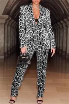 Black White Fashion Casual Print Cardigan Pants Turndown Collar Long Sleeve Two Pieces