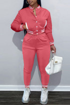 Pink Fashion Casual Solid Split Joint Long Sleeve Two Pieces