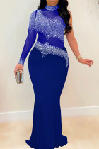 Blue Sexy Plus Size Hot Drilling Split Joint See-through Turtleneck Evening Dress