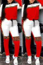 Red Fashion Casual Leopard Split Joint O Neck Long Sleeve Two Pieces