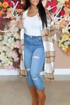 Khaki Fashion Casual Plaid Cardigan Turndown Collar Outerwear