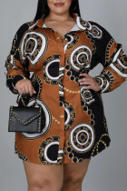 Brown Casual Print Split Joint Buckle Turndown Collar A Line Plus Size Dresses