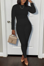 Black Casual Sportswear Solid Basic O Neck Long Sleeve Two Pieces