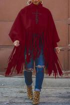 Burgundy Fashion Casual Print Tassel Turtleneck Tops