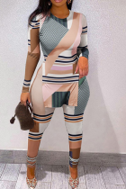 Multicolor Casual Print Slit Letter O Neck Long Sleeve Two Pieces