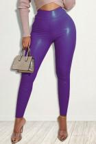 Purple Fashion Casual Solid Skinny High Waist Trousers