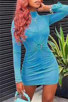 Blue Fashion Sexy Solid See-through Turtleneck Long Sleeve Two Pieces