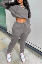 Grey Casual Solid Split Joint Frenulum V Neck Long Sleeve Two Pieces