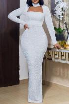 White Elegant Solid Hollowed Out Split Joint Turtleneck Dresses