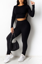 Black Sexy Solid Split Joint Frenulum Backless O Neck Long Sleeve Two Pieces